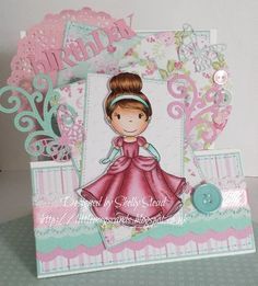 Design team card made for The Paper Nest Dolls using Ballgown Ella