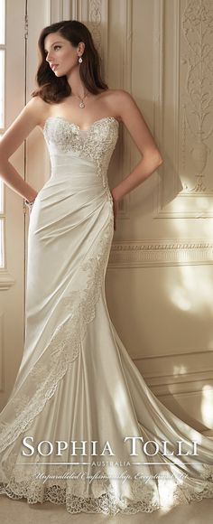 Sophia Tolli Spring 2016 Wedding Dress #weddingdress repinned by wedding accessories and gifts specialists http://destinationweddingboutique.com