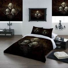 Alchemy Gothic See No Evil Double Duvet Set (Also in King Size / Queen Size, Super King and Single). This stunning Double Duvet set, with Alchemy's See No Evil three skulled design. Something completely different for the bedroom. From ANGEL CLOTHING Black Bedroom Sets, Bedroom Sets For Sale, Black Bedroom Furniture, Bedroom Red, Bedding Sets Uk, Luxury Bedding Sets, Duvet Sets, Double Duvet Set, Gothic Bedroom