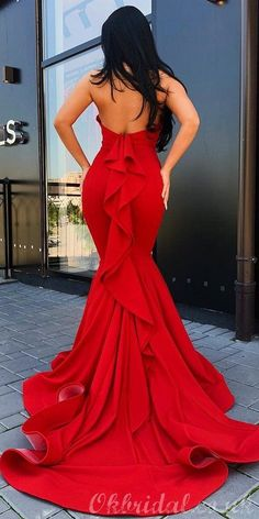 Red Mermaid Halter Sexy Backless Jersey Long Prom Dress, FC3757#prom #promdresses #2021prom #eveningdresses #longpromdress #fashiondresses #promdress Red Mermaid Dress, Mermaid Style Prom Dresses, Pretty Prom Dresses, Long Dresses, Long Elegant Dresses, Mermaid Evening Gown, Backless Dresses, Modest Dresses, Maxi Dresses