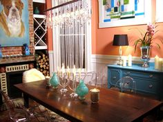 painted hutch in dining