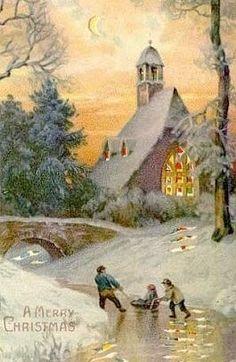Beautiful Snowy Village Vintage Christmas card!