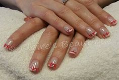Gelish - French with Freehand Bows and Swarovski Crystals