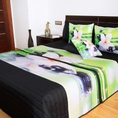 Zeleno čierne prehozy s bambusom a orchideou - domtextilu. Bed, Furniture, Home Decor, Bamboo, Home Furnishings, Interior Design, Home Interiors, Decoration Home, Beds