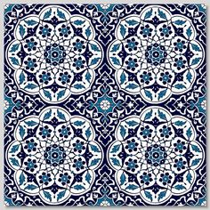 "Continuous pattern 4pc 40x40cm (16x16"") Turkish Floral Design Wall Tiles"