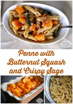 The perfect fall and winter pasta: penne with butternut squash and crispy sage. Yum!