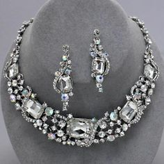 #Elegant #Vintage #Style #Fabulous #Wedding #Bridal #Prom #RHODIUM #CLEAR #Rhinestone #Costume #Jewelry #Necklace #Earrings