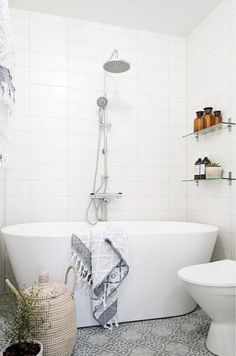 free standing tub and tile floor  #summer #vibes #currentlycoveting