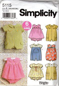 Baby Girl Dress Patterns | Baby Boy & Girl Romper and Dress Pattern - Size Newborn, X-Small ...