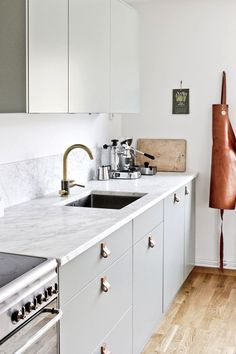 my scandinavian home: My Summer Cottage Kitchen Renovation: Floorplan and Design - mint and leather kitchen New Kitchen, Kitchen Dining, Kitchen Decor, Kitchen Cabinets, Bathroom Cabinetry, Kitchen Ideas, Green Cabinets, Kitchen Backsplash, Backsplash Ideas