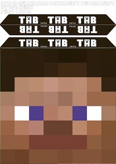 Minecraft Steve head mask template 1-5