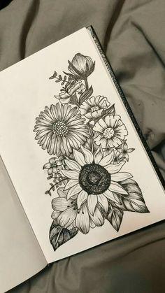 Passion flower over sunflower and poppy on the right side .- Passionsblume über Sonnenblume und Mohn auf der rechten Seite mit Lavendel Passion flower over sunflower and poppy on the right with lavender - Skull Tattoos, Cute Tattoos, Body Art Tattoos, Ankle Tattoos, Tatoos, Easy Tattoos, Side Thigh Tattoos, Dragon Tattoos, Forearm Tattoos