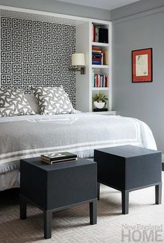 I like the bookshelf idea to frame the bed to make an inlaid headboard with wall paper #bedroomfurnitureideas