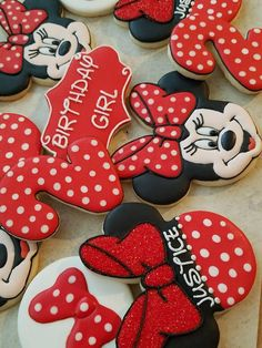 Minnie Mouse Birthday Decorations, Minnie Mouse Theme Party, Minnie Mouse First Birthday, 1st Birthday Party For Girls, Mickey Mouse Birthday, 3rd Birthday, Birthday Ideas, Minnie Mouse Roja, Minnie Mouse Cookies