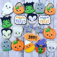 Kawaii Halloween Frankenstein, Dracula, Witch, Pumpkin, Jack-o-Lantern, Bats, Tomb Stone, Ghost, Candy Corn and Mummy Cookies