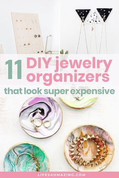 Check out these 11 ideas for chic, stylish DIY jewelry organizers and holders that let your pretty pieces shine while being organised & easily accessible. Diy Earrings Stand, Diy Earring Holder, Jewelry Stand, Clay Earrings, Diy Jewelry, Fashion Jewelry, I Spy Diy, Diy Playbook, Hanging Necklaces