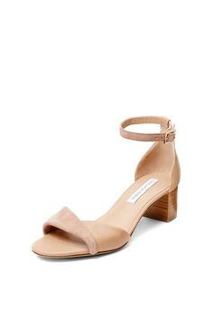 DVF Florence Stacked Heel Ankle Strap Sandal in powder