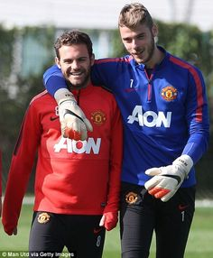 Juan Mata and David de Gea are all smiles at Carrington. I can't be the only one who thinks De Gea is freaking beautiful