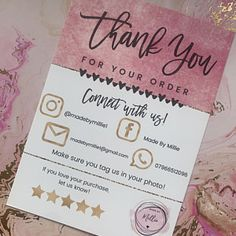 Small Business Cards, Business Thank You Cards, Craft Business, Business Card Design, Etsy Business Cards, Diy Business Ideas, Bakery Business Cards, Printable Thank You Cards, Thank You Card Template