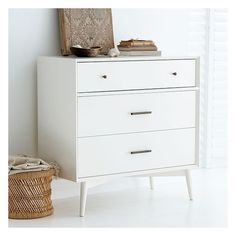 West Elm West Elm Mid-Century 3 Drawer Dresser, White - Armoires -... (810 CAD) ❤ liked on Polyvore featuring home, furniture, storage & shelves, dressers, white, white lacquer dresser, west elm furniture, west elm, storage furniture and white lacquer furniture