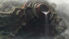 This HD wallpaper is about brown and grey metal container, science fiction, waterfall, artwork, Original wallpaper dimensions is file size is Matte Painting, Watercolor Paintings, Environment Concept Art, Environment Design, Environmental Art, Sci Fi Fantasy, Sci Fi Art, Futuristic, Science Fiction