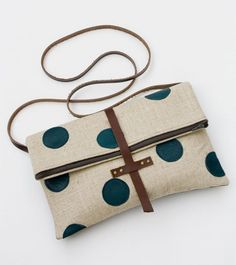 Foldover Crossbody Bag with Hand Cut Leather Polka Dots $62