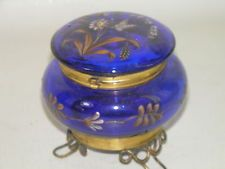 *MOSER ~ Bohemian blue enameled art glass, hinged jewelry trinket box
