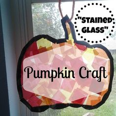 Let your kids help with the autumn decor! Simple enough for a toddler to help! Stained Glass Pumpkin Craft