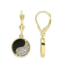Black Coral Yin Yang Earrings with Diamonds in 14K Yellow Gold - 12mm