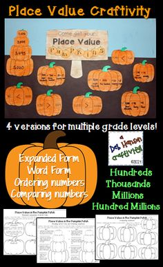 Place Value Craftivity- includes four versions for multiple grade levels  $ *UPDATED!  Now includes a decimal version, too!