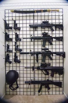 Mounting guns to wall. Weapon Storage, Gun Storage, Tactical Wall, Tactical Gear, Weapons Guns, Guns And Ammo, Airsoft, Gun Safe Room, Gun Closet