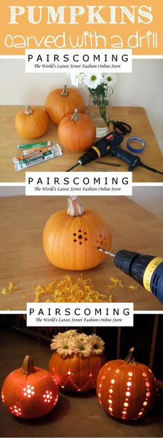 Pumpkins carved with a drill! #halloween # Costumes #halloweenstyle #Pariscoming #Paris #falltrends #fallstyle  #fallingfor  #fallfashion #fall #wintertrends #winterstyle #winterfor #winterfashion #winter #cardi #clothing #inspirational #fashionable #ontrend #stylist #Styling #StreetStyleSeason #streetstyle #fashionblog #fashiondiaries #fashiondiary #WearIt #WhatYouWear