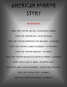 American Horror Story Workout - this is genius! Wish I had seen it before the season ended.