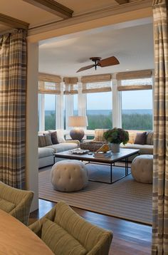 Window treatment that doesn't distract from the view. Simple fabric at entrance to sunroom. Love it!