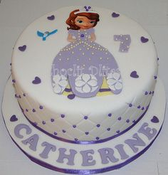 Sofia the First: Loved making this cake! Hand cut 2D fondant design, quilted side, dragee detail. Happy Birthday Catherine!