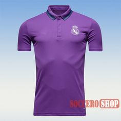Cool Promotional Real Madrid 2016 2017 Purple Mens Collared Polo Shirt Slim  Fit Personalized 13b4064422bdb