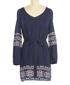 This Navy & Pink Tribal-Trim V-Neck Dress by brandon & ashley is perfect! #zulilyfinds