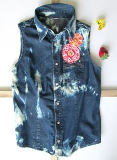 Bleached and embroidered women sleeveless denim by Soclichejewelry, €30.00