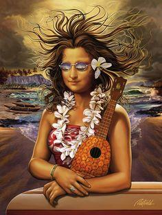 """Mona Kea"" by Rick Rietveld - Mona Lisa as Hawaiian art. To learn how to play the ukulele in easy ways visit us at - http://ukulele.io/free-stuff-offer/"