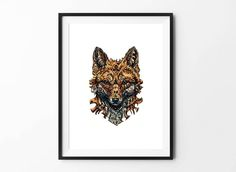 Fox poster, Fox art, Animal Wall Art, Digital Download Poster, Pencil drawing, Home Decor, Set of 5 JPG, Artwork, Picture, 18x24, Fox, Art by BFWorkroom on Etsy