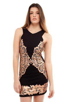 Black Rose Gold Dress.
