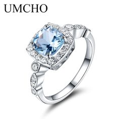 Promo $13.01, Buy UMCHO  Real S925 Sterling Silver Rings for Women Blue Topaz Ring Gemstone Aquamarine Cushion  Romantic Gift Engagement Jewelry