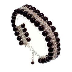 Black Onyx Chain Maille Silver Bracelet SLH Strava an by StravaMax