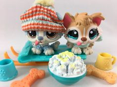 Littlest Pet Shop RARE Pair of Husky Puppies #1013 & #1683 w/Sled & Accessories #Hasbro
