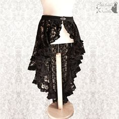 Victorian Inspired Wrap Skirt Romantic Black Goth Skirt Steampunk Noir... ($130) ❤ liked on Polyvore featuring black e women's clothing