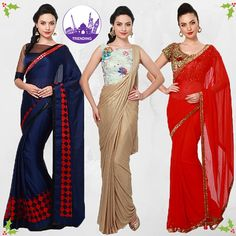 #ObjectsOfDesire Not very comfortable wearing western outfits but so-want to attend the Christmas party or the New-Year's ball ? We are here to your rescue, keeping in mind the season's colours you are surely going to be a headturner dressed in these beautiful sarees! Shop here : http://www.voonik.com/collections/objects-of-desire #LookFabEvenInASaree #IndianIsClassy #DesiGirl #GoldenBlueRedWhite
