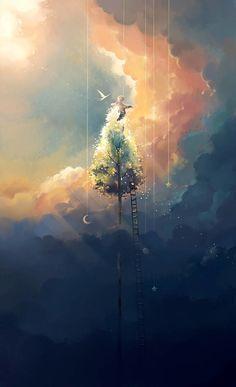 Digital Painting by Niken Anindita. Niken Anindita is a digital art artist and she is fond of digital painting. Yuumei Art, Animes Wallpapers, Anime Scenery, Fantasy Landscape, Pretty Art, Aesthetic Art, Aesthetic Wallpapers, Amazing Art, Concept Art