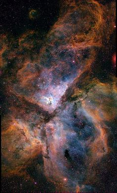 "Carina Nebula (NGC 3372). Light is combined from 3 different filters tracing emission from oxygen (blue), hydrogen (green), and sulfur (red). (Image credit: N. Smith, University of Minnesota/NOAO/AURA/NSF) Mona Evans, ""What Color Is a Nebula"" http://www.bellaonline.com/articles/art300516.asp"
