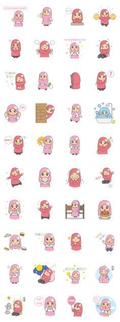 my name is Ameena. I am little muslimah. Let enjoy with my cute stickers. Printable Stickers, Cute Stickers, Cartoon Pics, Cartoon Art, Anime Chibi, Kawaii Anime, Cool Black Wallpaper, Islam For Kids, Hijab Cartoon