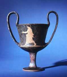 Kantharos, Boeotia c.BC), youth walking to left - Ashmolean Europe Tourism, My Legacy, Greek Pottery, Pottery Painting, Ancient Greece, Ancient Art, Archaeology, Terracotta, Youth